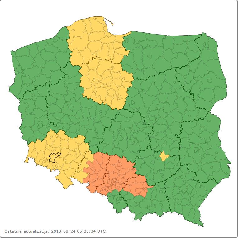 Ostrzeżenia meteorologiczne: *woj. dolnośląskie – pow. jaworski / Burze z gradem*