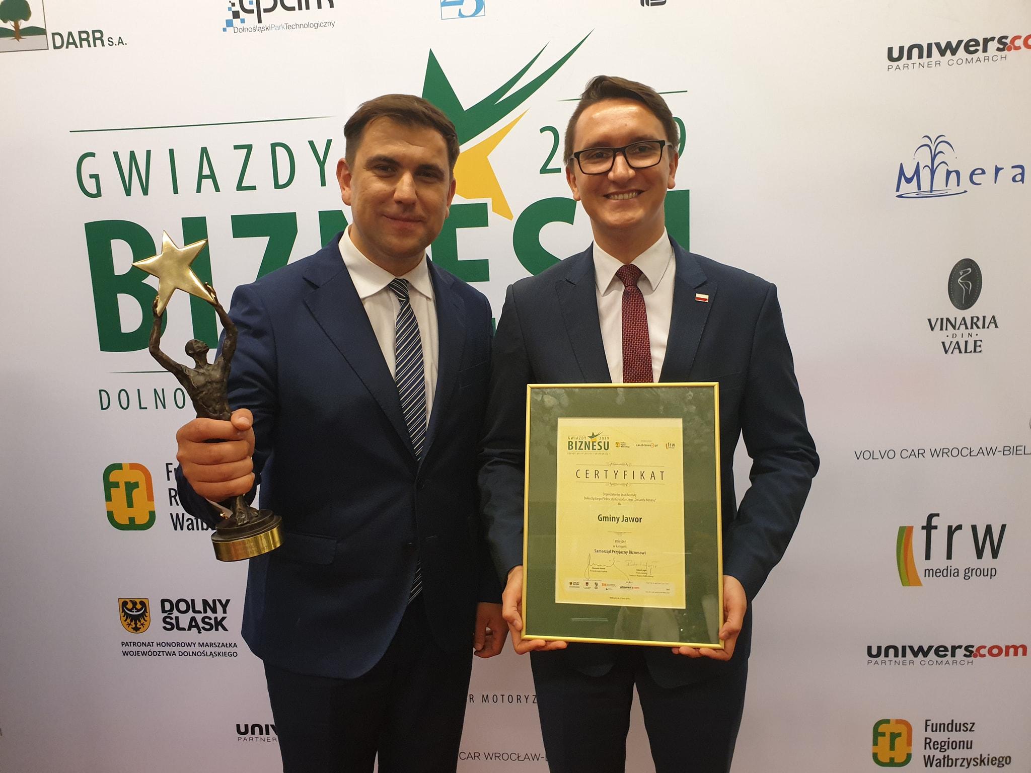 """Jawor najcenniejszą """"Gwiazdą Biznesu 2019"""" wśród samorządów"""